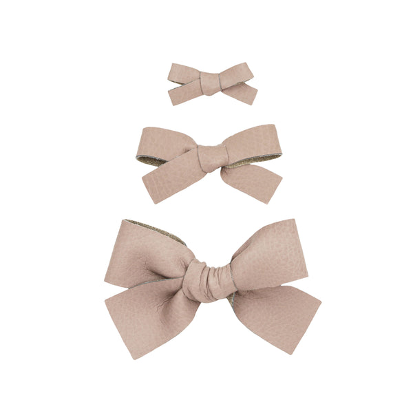 Leather - Woodrose Bow Hair Clip
