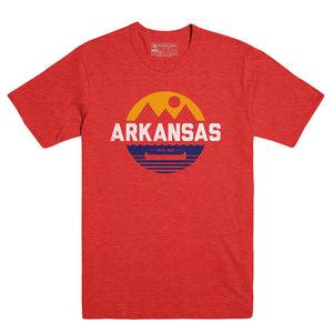 Arkansas Retro Canoe Heather Red Tee