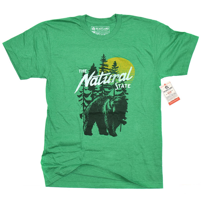 Arkansas Natural State Outdoors Tee Heather Green