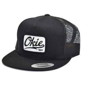 Okie Logo Flat Bill Trucker Cap Black