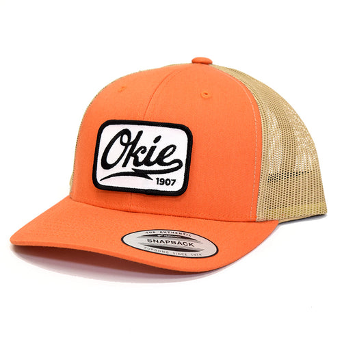 Okie Logo Trucker Hat - Rust Orange/Khaki