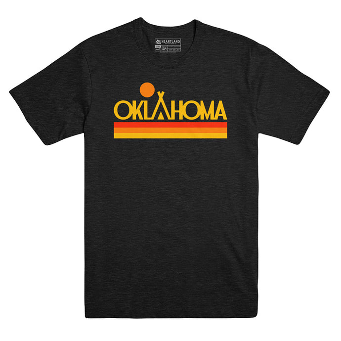 Oklahoma Native Sunset Black Heather Tee
