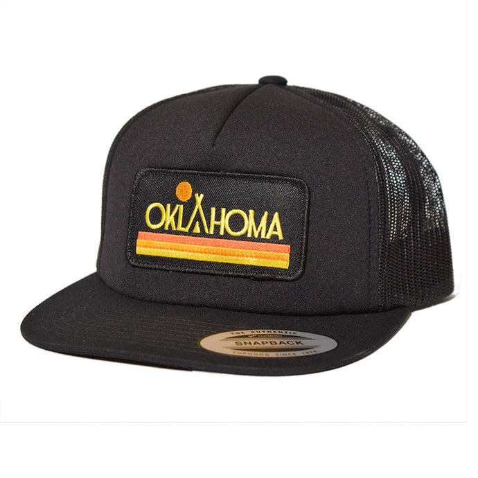 Oklahoma Native Sunset Trucker Hat Black