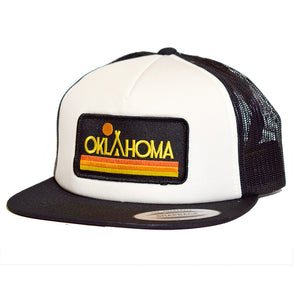 Oklahoma Native Sunset Trucker Hat White Black