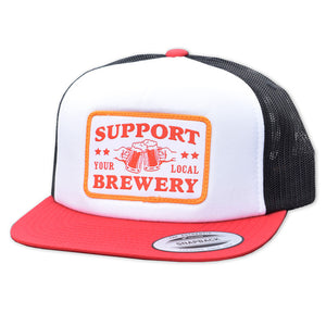 Support Your Local Brewery Trucker Hat - Red White Black