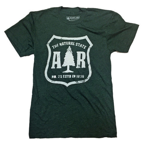 AR Department of Forestry Tee Heather Forest Green