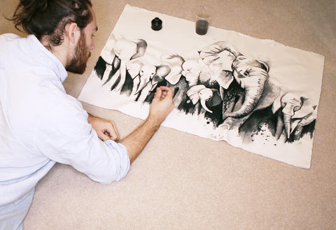 Ink drawing elephants