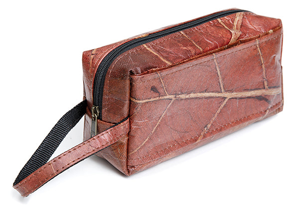 leaf leather travel toiletry bag