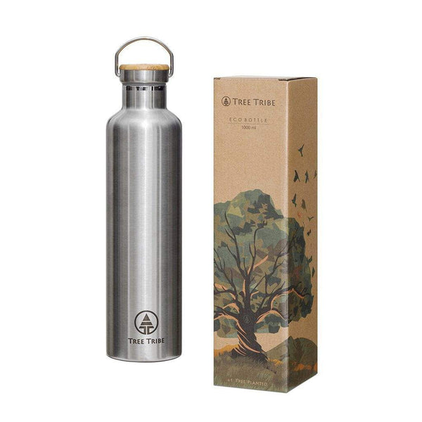 Stainless Steel Water Bottle - 1L (34 oz)  -  Reusable Bottle