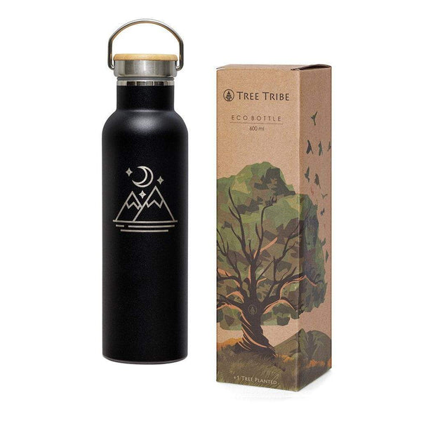 Black Moon and Mountains Water Bottle - 20 oz  -  Reusable Bottle