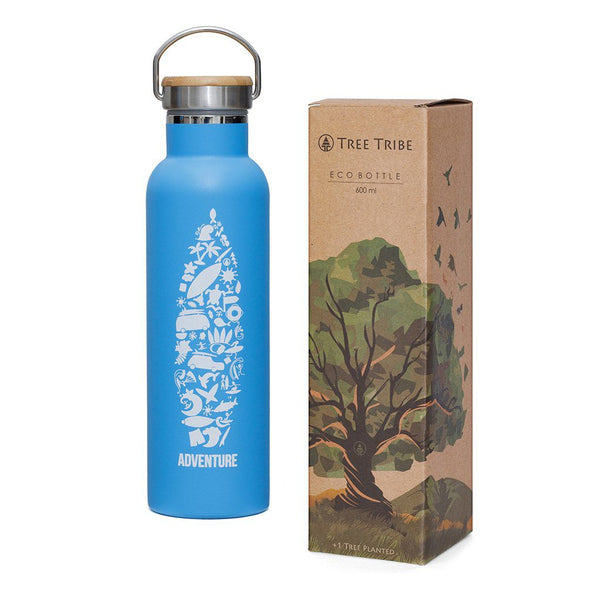 Blue Adventure Collage Water Bottle - 20 oz  -  Reusable Bottle