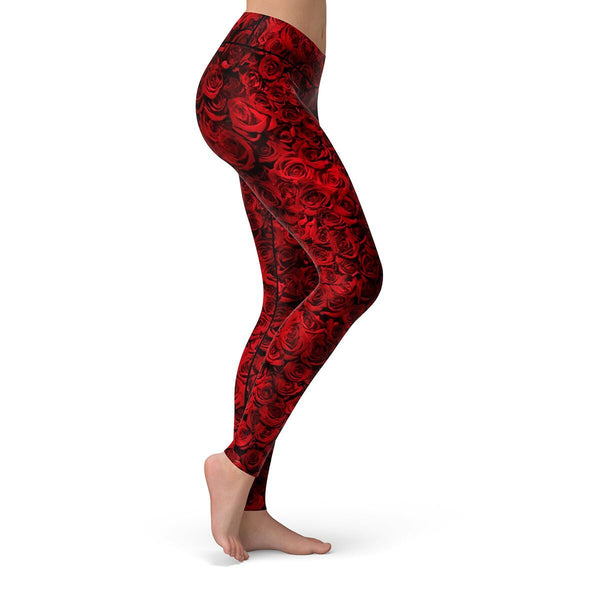 Red Rose Leggings  -  Yoga Pants