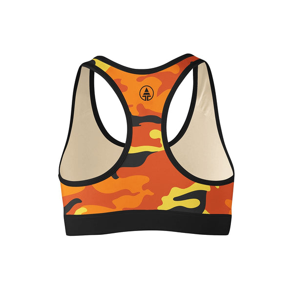 Orange Camo Sports Bra  -  Yoga Top