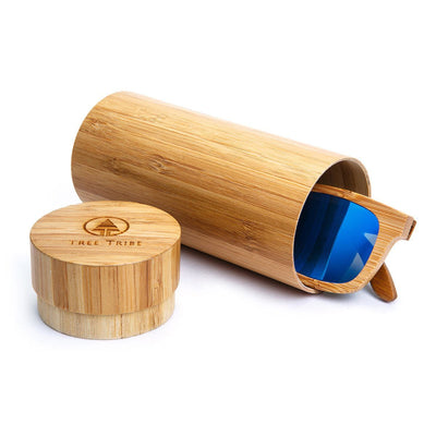 Bamboo Sunglasses - Blue Lens  -  Sunglasses