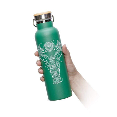 Green Elephant Water Bottle - 20 oz  -  Reusable Bottle