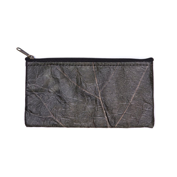 Leaf Leather Phone Bag - Black