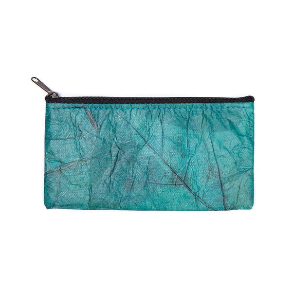 Leaf Leather Phone Bag - Turquoise