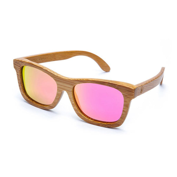 Bamboo Sunglasses - Pink Lens  -  Sunglasses