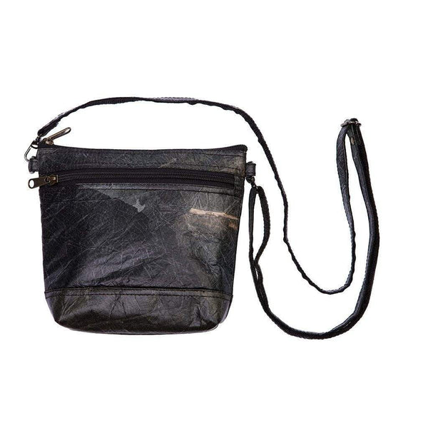 Leaf Leather Shoulder Bag - Black