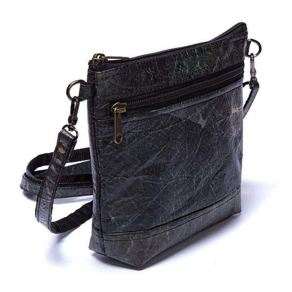 Leaf Leather Shoulder Bag - Black  -  LL Shoulder Bag