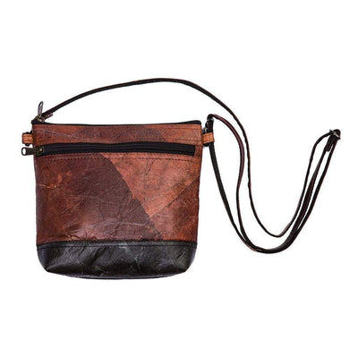 Leaf Leather Shoulder Bag - Brown / Black  -  LL Shoulder Bag