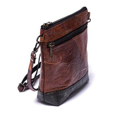 Leaf Leather Shoulder Bag - Brown / Black