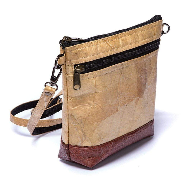 Leaf Leather Shoulder Bag - Natural / Brown  -  LL Shoulder Bag Natural