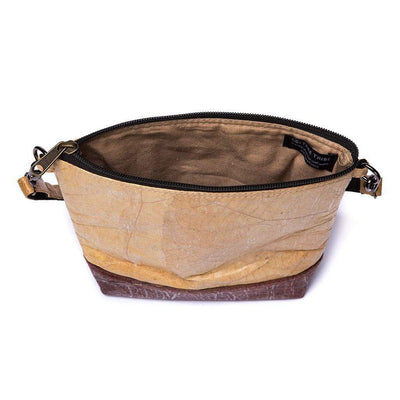 Leaf Leather Shoulder Bag - Natural / Brown