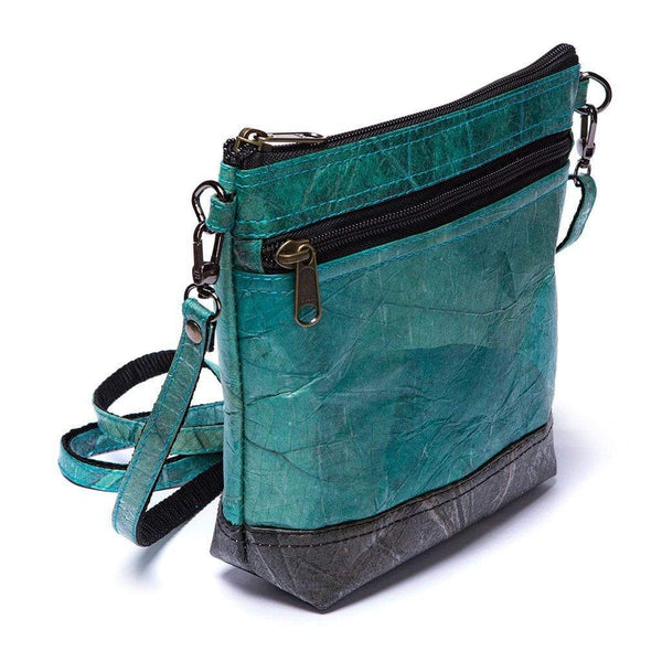 Leaf Leather Shoulder Bag - Turquoise / Black