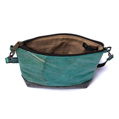 Leaf Leather Shoulder Bag - Turquoise / Black  -  LL Shoulder Bag Turquoise