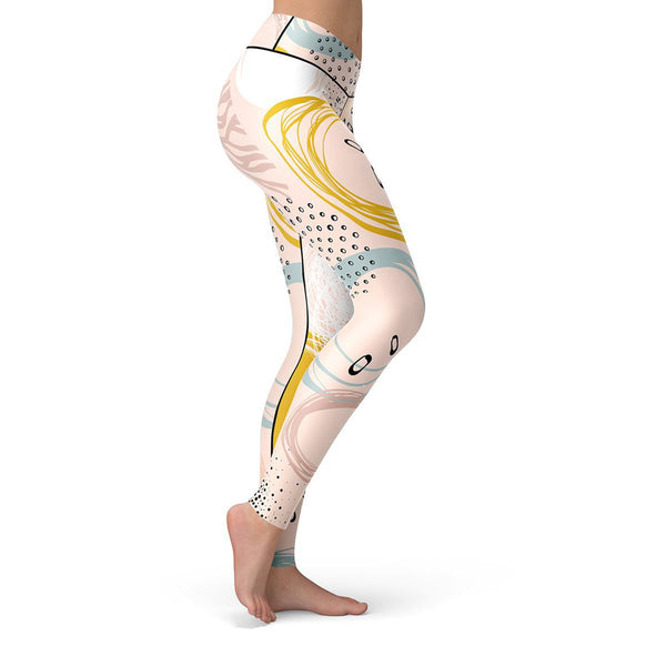 Abstract Floral Leggings  -  Yoga Pants