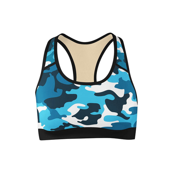 Aqua Camo Sports Bra  -  Yoga Top