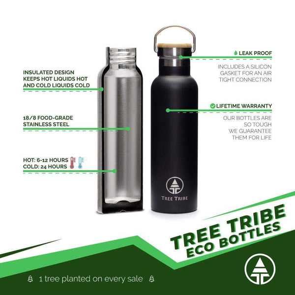 Black Tribe Logo Water Bottle - 20 oz