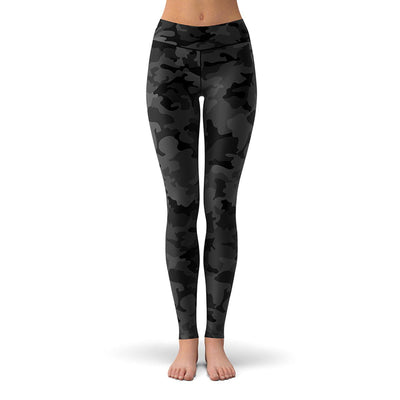 Black Camo Leggings  -  Yoga Pants