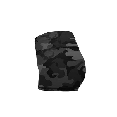 Black Camo Yoga Shorts  -  Women's Shorts