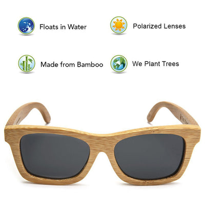 Bamboo Sunglasses - Black Lens  -  Sunglasses