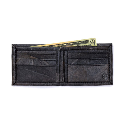 Leaf Leather Bifold Wallet - Black