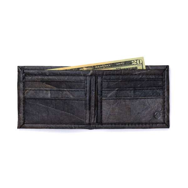 Leaf Leather Bifold Wallet - Black  -  LL Bifold Wallet Black