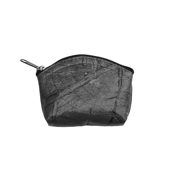 Leaf Leather Coin Bag - Black