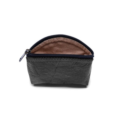 Leaf Leather Coin Bag - Black  -  LL Coin Bag Black