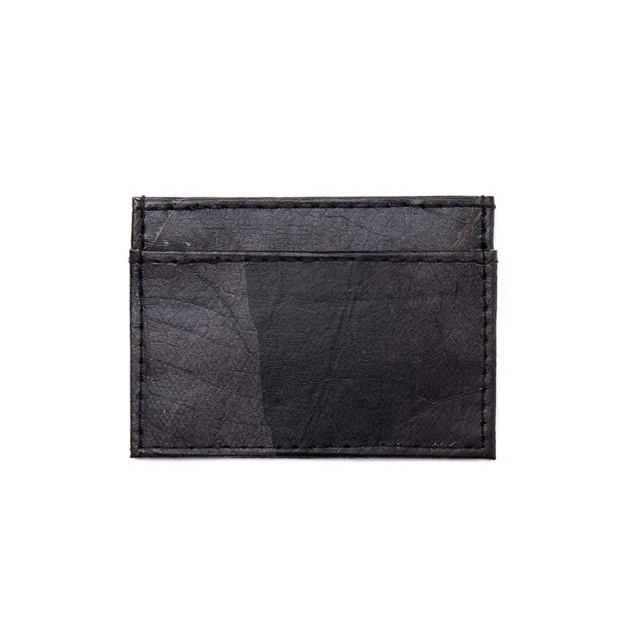 Leaf Leather Slim Wallet - Black