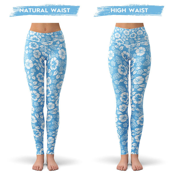 Blue Bloom Leggings  -  Yoga Pants