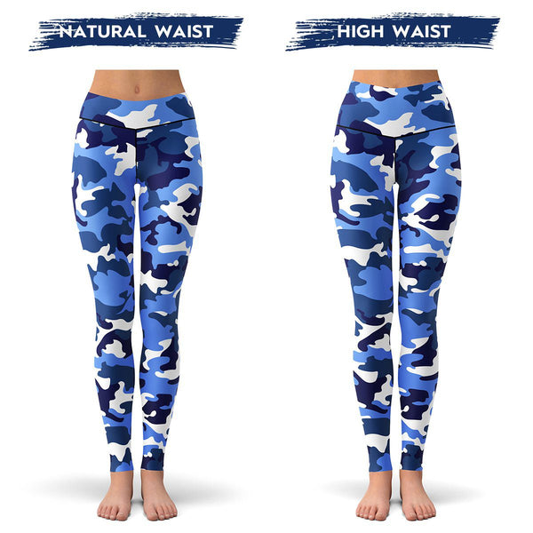 Blue Camo Leggings  -  Yoga Pants