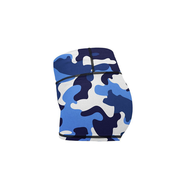 Blue Camo Yoga Shorts  -  Women's Shorts