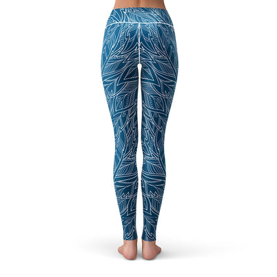 Blue Feather Leggings  -  Yoga Pants