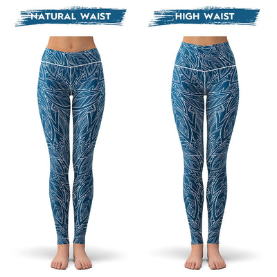 Blue Feather Leggings