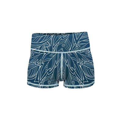 Blue Feather Yoga Shorts  -  Women's Shorts