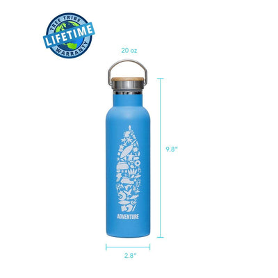 Adventure Collage Stainless Steel Bottle - 20 oz
