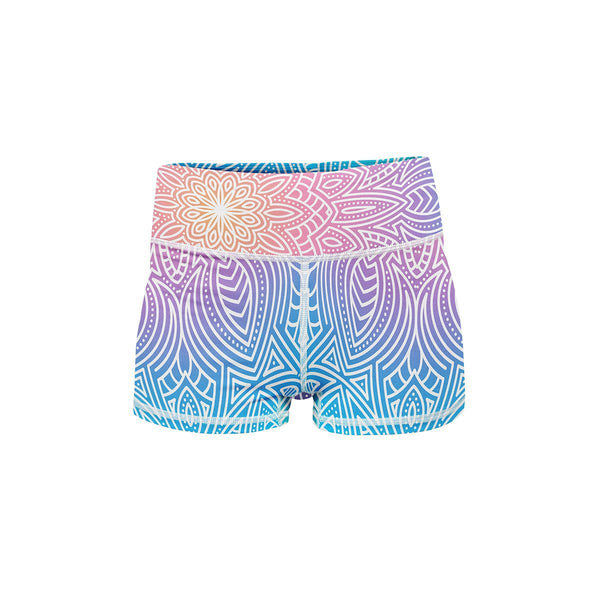 Bright Vibes Mandala Yoga Shorts  -  Women's Shorts