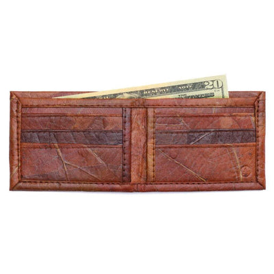 Leaf Leather Bifold Wallet - Brown  -  LL Bifold Wallet Brown